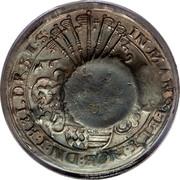 Russia 1 Yefimok Countermarked over Mansfeld-Eigentliche-Hinterort Taler 1649 1655  IN MANSFELT NIOB DN I HELDR SI S coin reverse
