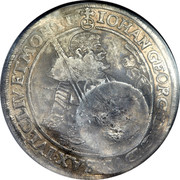 Russia 1 Yefimok Countermarked over Saxony Taler 1655  1655 IOHAN GEORG : D : G : DVX SAX IVL CLIV : ET . MONTI : coin obverse