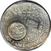 Russia 1 Yefimok Countermarked over Saxony Taler 1655  SA. ROM. IMP. ARCHIM. ET ELECT. coin reverse
