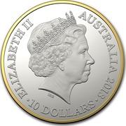 Australia 10 Dollars Kangaroo 25th Anniv 2018 ELIZABETH II AUSTRALIA 2018 10 DOLLARS coin obverse
