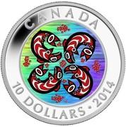 Canada 10 Dollars Salmon 2014 Proof KM# 1794 CANADA 10 DOLLARS 2014 coin reverse