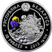 Belarus 10 Roubles The Crocus 2013 Proof KM# 522 РЭСПУБЛИКА БЕЛАРУСЬ 10 РУБЛЁУ 2013 AG 925 coin obverse
