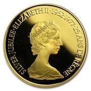 Canada 100 Dollars 25th Anniversary of the Coronation of Queen Elizabeth II (1977) Proof KM# 119 SILVER JUBILEE∙ELIZABETH II∙1952-1977∙25 ANS DE RÈGNE coin obverse