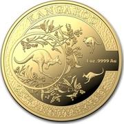 Australia 100 Dollars Kangaroo 25th Anniv 2018 KANGAROO 25TH ANNIVERSARY 1OZ .9999 AU coin reverse