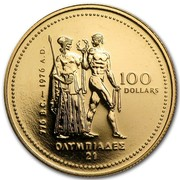 Canada 100 Dollars Montreal Olympics 1976 KM# 115 776 B.C. - 1976 A.D. 100 DOLLARS coin reverse