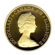 Canada 100 Dollars National Unity 1978 Proof KM# 122 100 DOLLARS CANADA 1978 ELIZABETH II coin obverse
