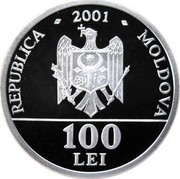 Moldova 100 Lei 10th Anniversary of Independence 2001 Proof KM# 16 REPUBLICA MOLDOVA 2001 100 LEI coin obverse