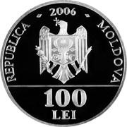 Moldova 100 Lei 15th anniversary of the National Bank 2006 Proof KM# 39 REPUBLICA 2006 MOLDOVA 100 LEI coin obverse
