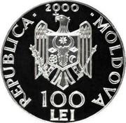 Moldova 100 Lei 525th Anniversary of the Battle of Vaslui 2000 Proof KM# 24 REPUBLICA 2000 MOLDOVA 100 LEI coin obverse