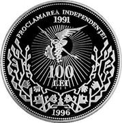 Moldova 100 Lei 5th anniv. of Independence 1996 Proof KM# 8 PROCLAMAREA INDEPENDENȚEI 1991 100 LEI 1996 coin reverse