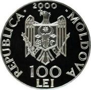 Moldova 100 Lei Alexandru Cel Bun 2000 Proof KM# 15 REPUBLICA 2000 MOLDOVA 100 LEI coin obverse