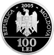 Moldova 100 Lei Burebista 2005 Proof KM# 32 REPUBLICA 2005 MOLDOVA 100 LEI coin obverse