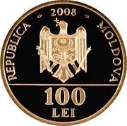 Moldova 100 Lei Dimitrie Cantemir 2008 Proof KM# 52 2008 REPUBLICA MOLDOVA 100 LEI coin obverse