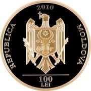 Moldova 100 Lei Doina and Ion Aldea-Teodorovici 2010 Proof KM# 57 2010 REPUBLICA MOLDOVA 100 LEI coin obverse