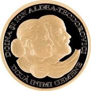 Moldova 100 Lei Doina and Ion Aldea-Teodorovici 2010 Proof KM# 57 DOINA ȘI ION ALDEA-TEODOROVICI DOUĂ INIMI GEMENE coin reverse