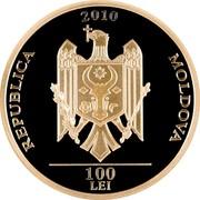 Moldova 100 Lei Grigore Vieru 2010 Proof KM# 61 2010 REPUBLICA MOLDOVA 100 LEI coin obverse