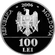 Moldova 100 Lei Proclamation of Independence 2006 Proof KM# 35 REPUBLICA 2006 MOLDOVA 100 LEI coin obverse