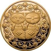 Belarus 100 Roubles Gemini 2011 Proof KM# 398 coin reverse