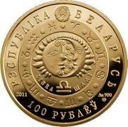 Belarus 100 Roubles Libra 2011 Proof KM# 402 РЭСПУБЛІКА БЕЛАРУСЬ LIBRA ШАЛІ 2011 AU 900 MW 100 РУБЛЁЎ coin obverse