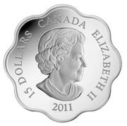 Canada 15 Dollars Lunar Lotus - Year of the Rabbit 2011 Proof KM# 1055 15 DOLLARS CANADA ELIZABETH II 2011 coin obverse