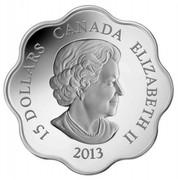 Canada 15 Dollars Lunar Lotus - Year of the Snake 2013 Proof KM# 1359 15 DOLLARS CANADA ELIZABETH II 2013 coin obverse