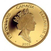Canada 150 Dollars Year of the Horse, Hologram 2002 Proof KM# 604 150 DOLLARS CANADA ELIZABETH II · 2002 · coin obverse