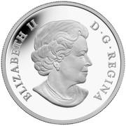 Canada 20 Dollars Chickadee with Swarovski Winter Berries 2014 Proof KM# 1734 ELIZABETH II D ∙ G ∙ REGINA coin obverse