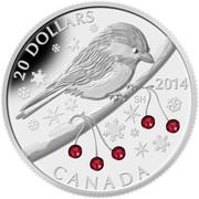 Canada 20 Dollars Chickadee with Swarovski Winter Berries 2014 Proof KM# 1734 20 DOLLARS SH 2014 CANADA coin reverse