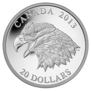 Canada 20 Dollars The Bald Eagle 2013 Proof KM# 1440 CANADA 2013 CD 20 DOLLARS coin reverse
