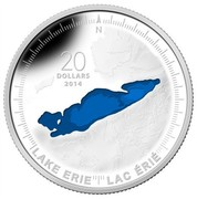 Canada 20 Dollars The Great Lakes - Lake Erie 2014 Proof KM# 1568 N 20 DOLLARS 2014 LAKE ERIE LAC ERIE coin reverse