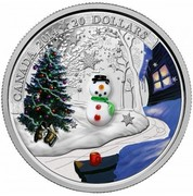 Canada 20 Dollars Venetian Glass Snowman 2014 Proof KM# 1795 CANADA 2014 20 DOLLARS coin reverse