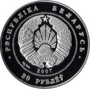 Belarus 20 Roubles Belarussian Balet 2007 Proof KM# 163 РЭСПУБЛИКА БЕЛАРУСЬ 20 РУБЛЁЎ AG 999 2007 coin obverse