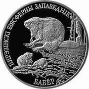 Belarus 20 Roubles Berezinsky Biosphere Nature Reserve - Beaver 2002 Proof KM# 45 БЯРЭЗІНСКІ БІЯСФЕРНЫ ЗАПАВЕДНІК БАБЁР coin reverse