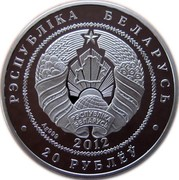 Belarus 20 Roubles Bison 2012 Proof KM# 420 РЭСПУБЛІКА БЕЛАРУСЬ AG 999 2012 20 РУБЛЁЎ coin obverse