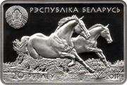 Belarus 20 Roubles The Akhal Teke 2011 Proof KM# 383 РЭСПУБЛІКА БЕЛАРУСЬ 20 РУБЛЁЎ AG 925 2011 coin obverse