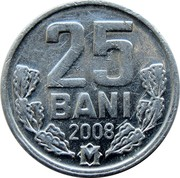 Moldova 25 Bani 2008 KM# 3 Decimal Coinage 25 BANI 2008 coin reverse