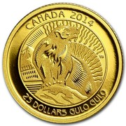 Canada 25 Dollars The Wolverine 2014 Proof KM# 1608 CANADA 2014 25 DOLLARS GULO GULO coin reverse
