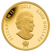 Canada 2500 Dollars Battle of Chateauguay and Battle of Crysler 2013 Proof KM# 1478 ELIZABETH II 2013 2500 DOLLARS coin obverse