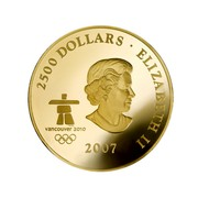 Canada 2500 Dollars Early Canada 2007 KM# 681 2500 DOLLARS ELIZABETH II 2007 VANCOUVER 2010 TMEMC SB coin obverse