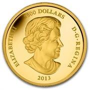 Canada 2500 Dollars Snake 2013 KM# 1364 ELIZABETH II 2500 DOLLARS D G REGINA 2013 SB coin obverse