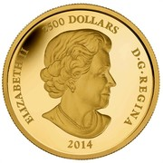 Canada 2500 Dollars Year of the Horse 2014 Proof KM# 1519 ELIZABETH II 2500 DOLLARS D•G•REGINA 2014 coin obverse