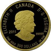 Canada 350 Dollars Mountain Avens 2011 Proof KM# 1136 ELIZABETH II CANADA D· G· REGINA 2011 .99999 FINE GOLD 350 DOLLARS OR PUR coin obverse