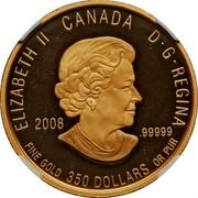 Canada 350 Dollars Nunavut Purple Saxifrage 2008 Proof KM# 832 ELIZABETH II CANADA D·G·REGINA 2008 .99999 FINE GOLD 350 DOLLARS OR PUR coin obverse