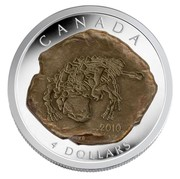 Canada 4 Dollars Euoplocephalus engraved on a rock 2010 Proof KM# 1014 CANADA 2010 4 DOLLARS coin reverse