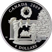 Canada 4 Dollars Hanging the Stockings 2009 Proof KM# 942 CANADA 2009 4 DOLLARS coin reverse