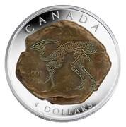 Canada 4 Dollars Parasaurolophus 2007 Proof KM# 728 CANADA 4 DOLLARS coin reverse