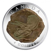 Canada 4 Dollars Triceratops 2008 Proof KM# 797 CANADA 4 DOLLARS coin reverse
