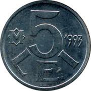 Moldova 5 Lei 1993 KM# 6 Decimal Coinage M 5 LEI 1993 coin reverse
