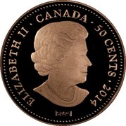 Canada 50 Cents 100 Blessings of Good Fortune 2014 Proof KM# 1585 ELIZABETH II ∙ CANADA ∙ 50 CENTS ∙ 2014 SP/PA coin obverse