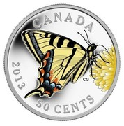 Canada 50 Cents Canadian Tiger Swallowtail - Butterflies of Canada 2013 Proof KM# 1435 CANADA 50 CENTS coin reverse